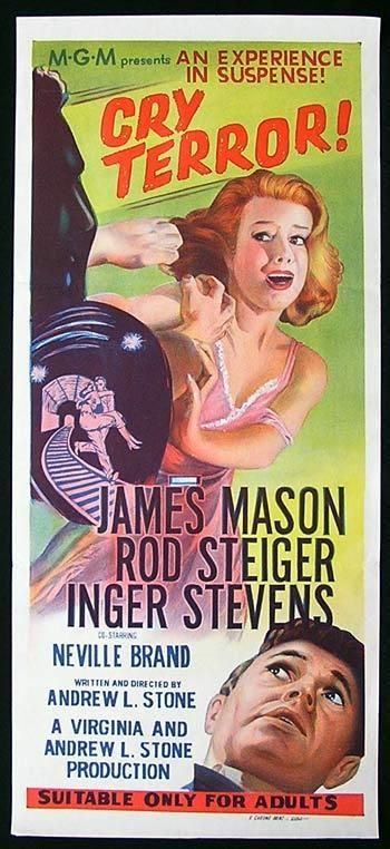 CRY TERROR Movie Poster 1958 James Mason Rod Steiger daybill