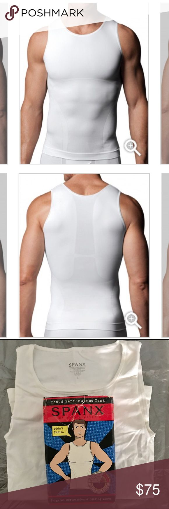 SPANX Men Zoned Performance Tank Compression NWT BRAND NEW, STILL IN ORIGINAL PACKAGING! NWT! Celebrities' secret to the perfect shape! I use all different kind of SPANX on my actors and models! Great for playing sports too! Check out the other models of Spanx I have for sale! 🛍 SPANX Shirts Tank Tops