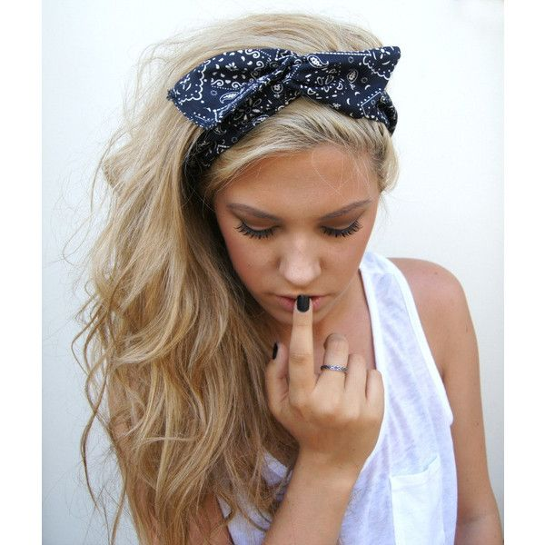ROCKABILLY Headband Wired Dolly Bow Black and White Bandana PIN UP ❤ liked on Polyvore