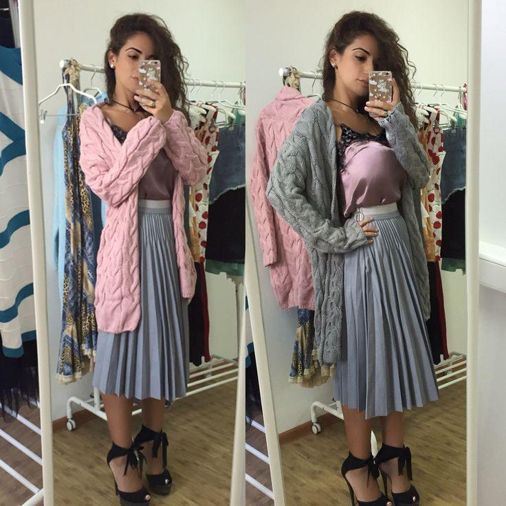 Модная одежда, кардиган, кожаная юбка