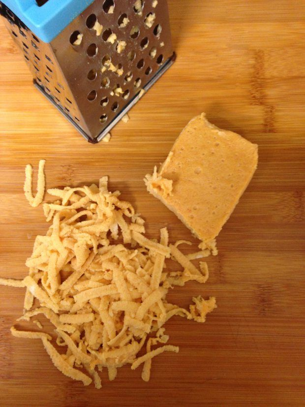 15 minute, Grate-able and Melt-able Vegan Cheese. Recipe from http://bunnykitchen.com/2014/03/02/15-minute-grate-able-and-melt-able-vegan-cheese/.