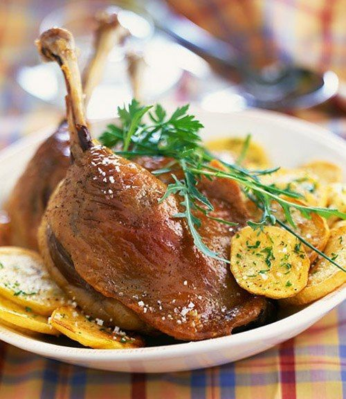 Confit de canard. Dordogne speciality. With potatoes and a crisp salad it is hard to beat.