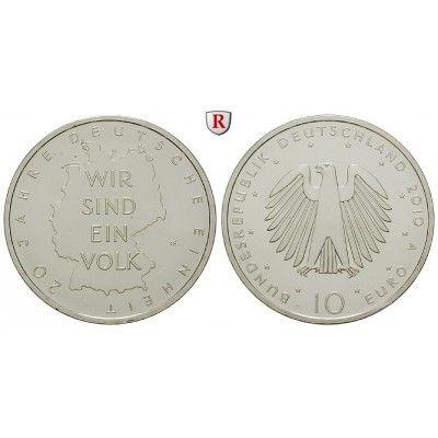 Bundesrepublik Deutschland, 10 Euro 2010, 20 Jahre Deutsche Einheit, A, bfr.: 10 Euro 2010 A. 20 Jahre Deutsche Einheit. bankfrisch… #coins