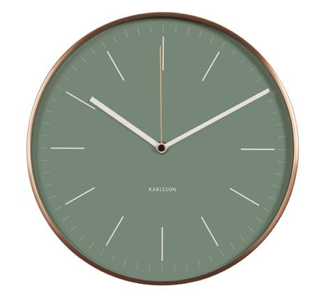 MINIMALIST WALL CLOCK IN GREY-GREEN  AND COPPER