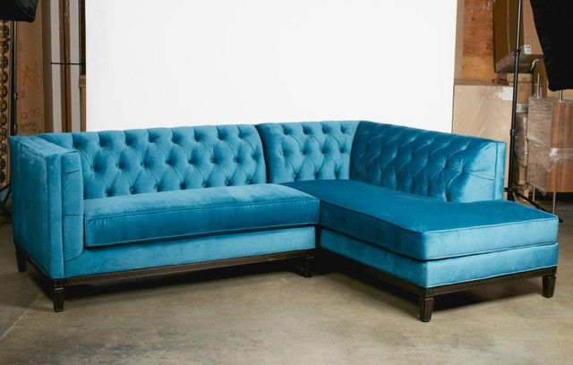 Elegant Dodgerblue Upholstery Velvet Fabric Transitional Sectionals Sofas With Upholstered Tufted Backrest And Dark Iron Frame As Well As Modular Sectional Sofa Also Leather Sectional Couches of Awesome Chic Cheap Sectionals Sofas For Your Unusual Living Room Decor And Patio  from Furniture Ideas