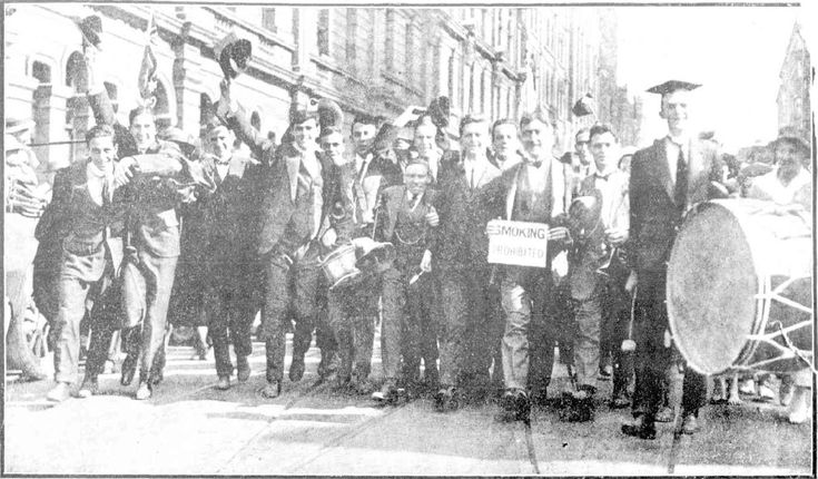 Snapshots of Street Scenes in Sydney Following the Official News of the Armistice - November 1918 - A Group of Sydney University Students