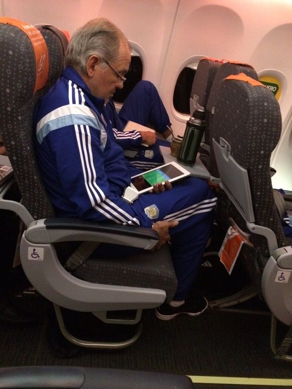 Argentina Football Coach Alejandro Sabella using every min he has to prepare #SportstecPlayer #WorldCup2014