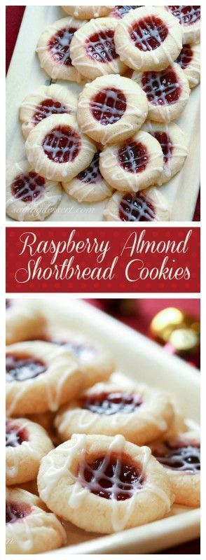 Raspberry Almond Shortbread Thumbprint Cookies Recipe via Saving Room for Dessert - Yummy, tender shortbread cookies packed with raspberry jam and topped with a simple almond icing!