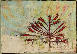 acrylic, enamel, ink, carving on wood panel 13 x 18.5 inches