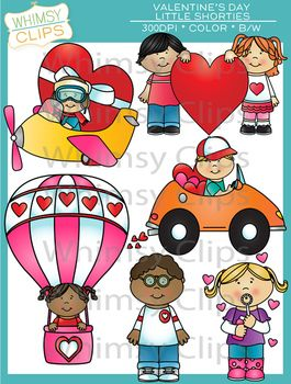 This Little Shorties Valentine's Day clip art set contains 12 image files, which includes 6 color images and 6 black & white images in png and jpg. All images are 300dpi for better scaling and printing. $