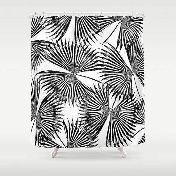 Black & White Shower Curtain, Palm Leaf Print, Tropical Bath Decor, Coastal Bathroom Accessories, Tropical Glam Leaf Print, Palm Tree Print