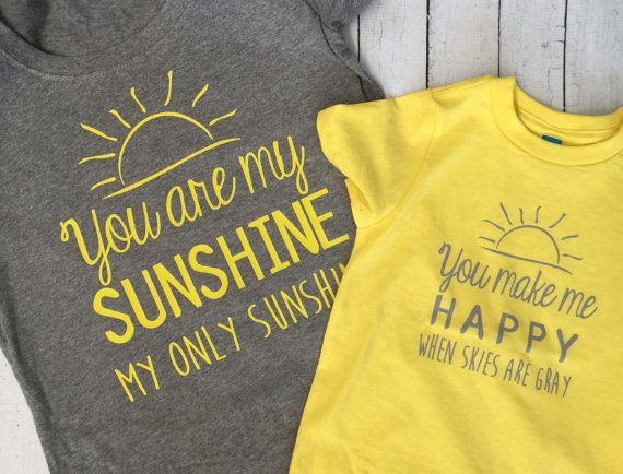 Adorable mommy and me set! Could be used for boy or girl! Need more than one child shirt? No problem! Just ask and we can create a custom listing for you!  Mommy shirt is a gray tri- blend (super soft) t shirt. Yellow child shirt is perfect for your little one
