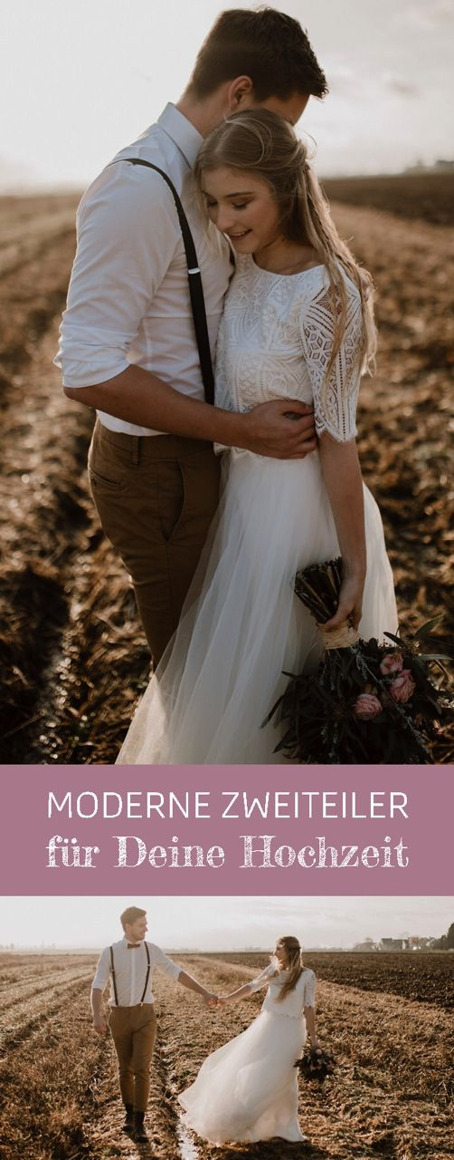 Moderne Zweiteiler als Hochzeitskleid, Spitzentop aus Hippie Spitze zum Tüllroc…