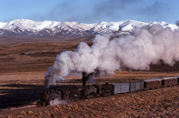 Double Henschel 2-8-2's on the Esquel line in southern Argentina. Full story at http://steamtrainstories.com