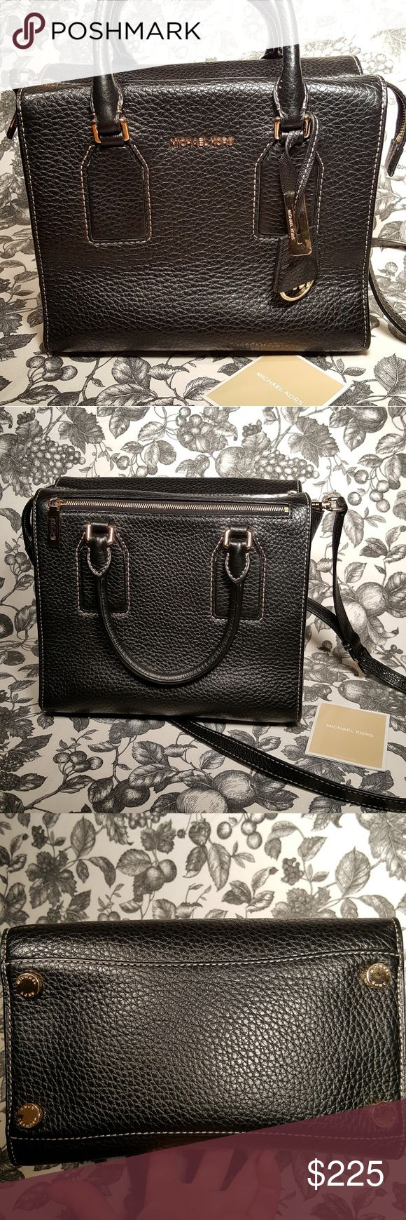 Michael Kors Selby Black Pebble Leather Satchel Michael Kors Medium Selby Black Pebble Leather Satchel Great pre-owned condition; some scratches on hardware from regular use and some minor white scuff marks on bottom piping (see photo #7). It's quite a sturdy bag! Gold tone hardware Comes with care card but no dustbag (which I used for another bag); original tag in last pic. *This is the larger one of the Selby style!* Michael Kors Bags Satchels