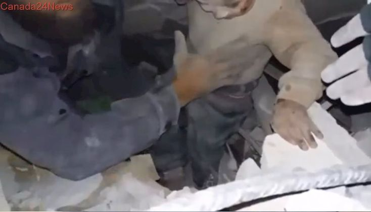Video shows Syrian children rescued from rubble after air strikes