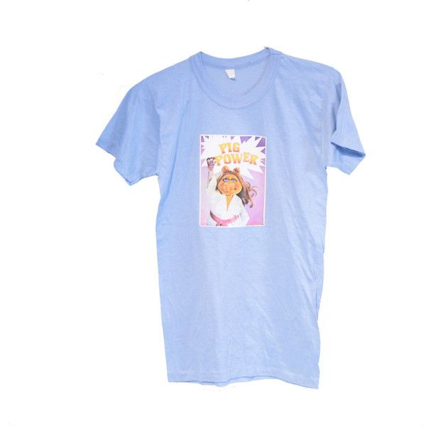 Vintage Miss Piggy Muppets T-shirt, Pig Power, 70's T-shirt (46 CAD) ❤ liked on Polyvore featuring tops, t-shirts, blue top, blue t shirt, vintage t shirts, vintage tops and blue tee