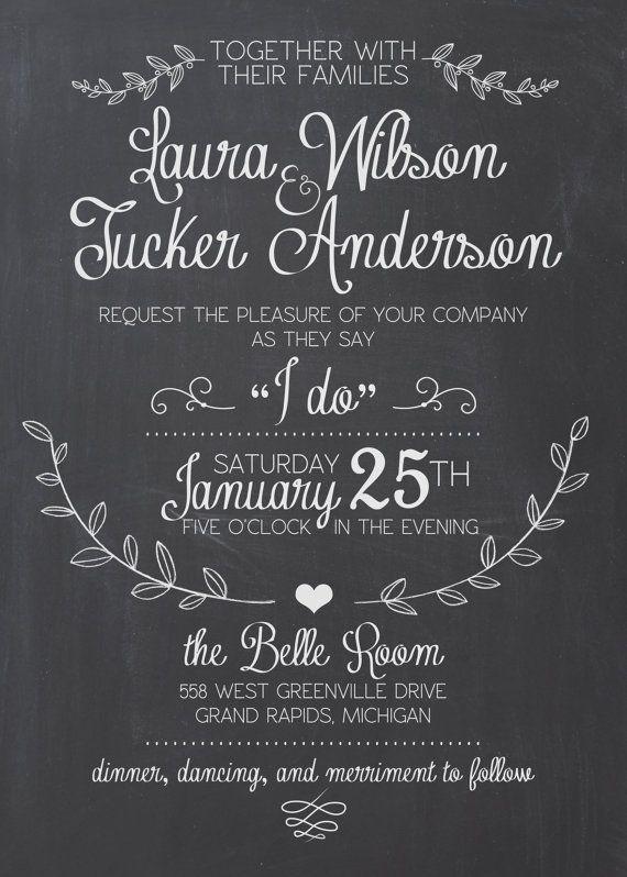 Wedding Invitation Suite Chalkboard Printable by SplashOfSilver