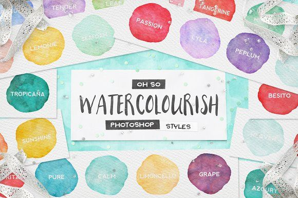 90 Watercolor PS Styles + EXTRAS! by Pink Coffie on @creativemarket