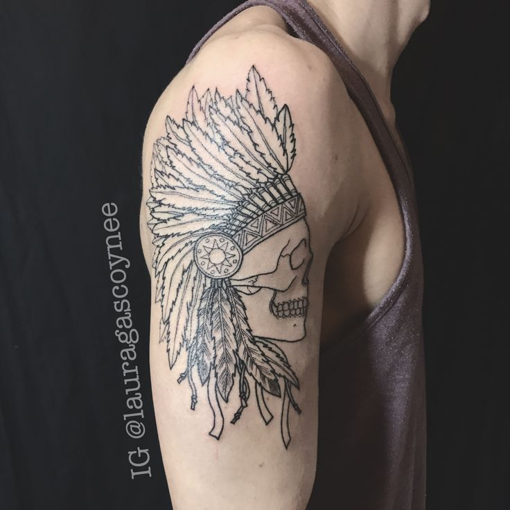 Designed and tattooed by Laura Gascoyne   Red indian skull headdress lines linework arm feathers tattoo