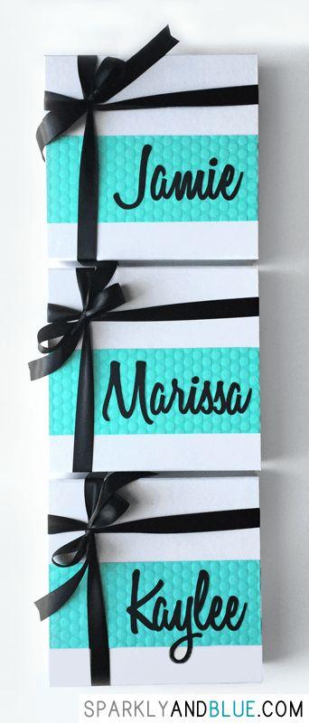Cute bridesmaid proposal boxes with black ribbon!