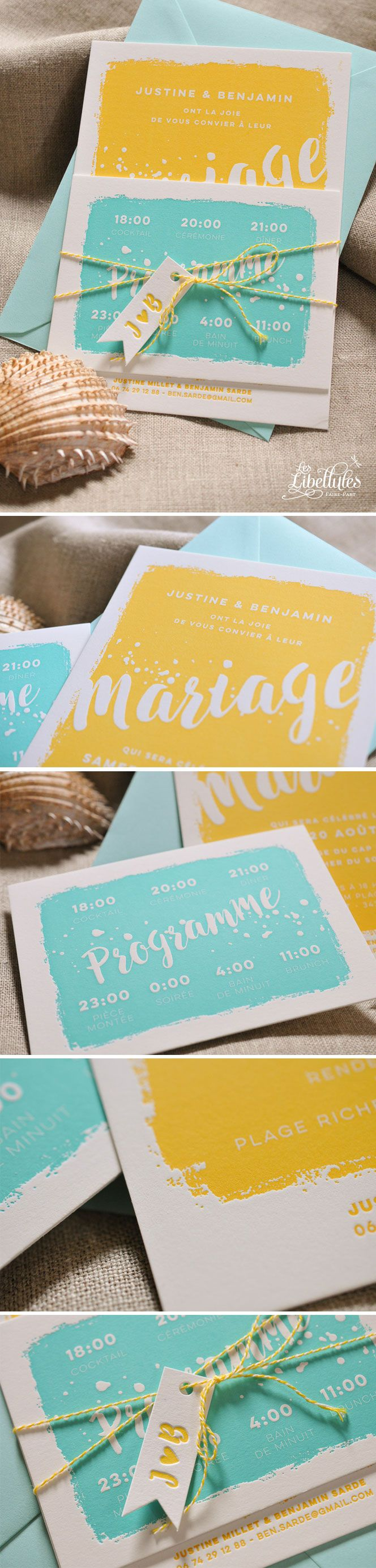 "Faire-part de mariage en Letterpress ""Bain de Soleil"" jaune accompagné de son programme bleu aqua et d'un petit fanion. Délicieuse typo manuscrite et joyeuses éclaboussures. // ""Sun kissed"" bright yellow letterpress wedding invitation with its blue aqua program and a flag label. Hand drawned font and splatters. www.Les-Libellules.fr"