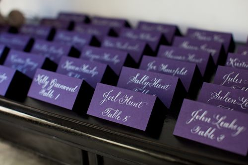 Deep purple place cards, wedding planned by La Fete with photos by Melissa Musgrove Photography | junebugweddings.com