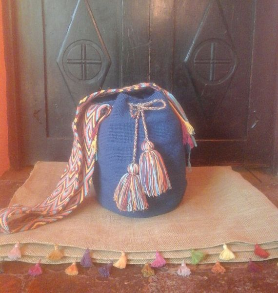 Wayuu Mochila Bag / Hand-Woven / Blue / Indigenous by CasaLunaCo