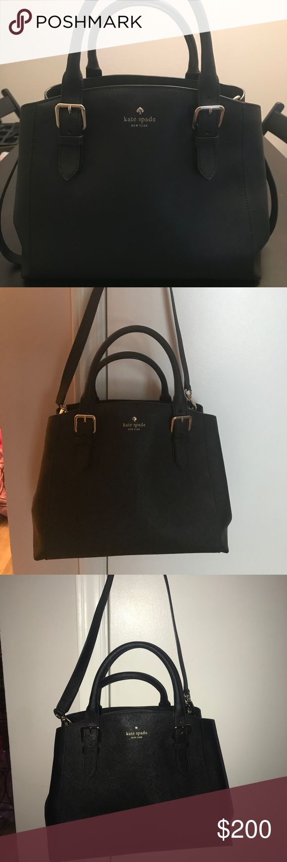 Kate Spade Black Bag Excellent condition!! Shorter strap is a 5 inch drop and the longest strap is a 14 inch drop! kate spade Bags
