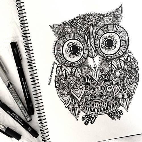 owl drawing patterns colors pinterest patterns owl doodle and art reference. Black Bedroom Furniture Sets. Home Design Ideas