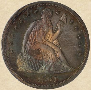 1864 Seated Liberty Dollar obverse