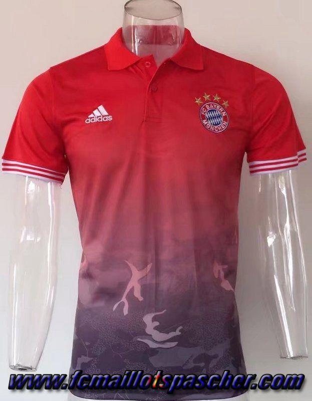 Site Vente Polo Foot Bayern Munich Camouflage Orange 2017 2018 Pas Cher