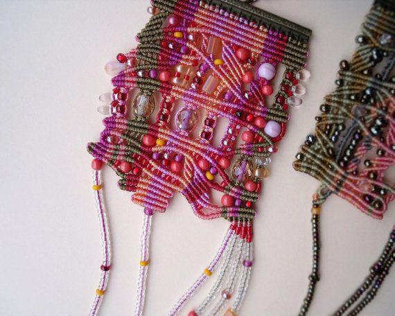 Unique micro macrame necklace, pendant - Pink Tangerine Bronze Red Coral Freeform Beadwork OOAK Bohemian