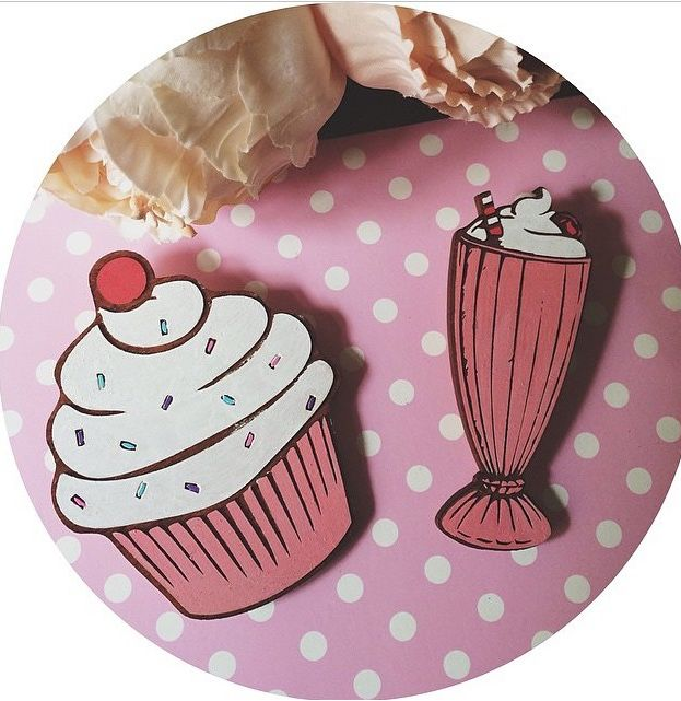 Cupcake and milkshake brooches. Made by deer arrow. Brooch. 50's. www.deerarrow.com