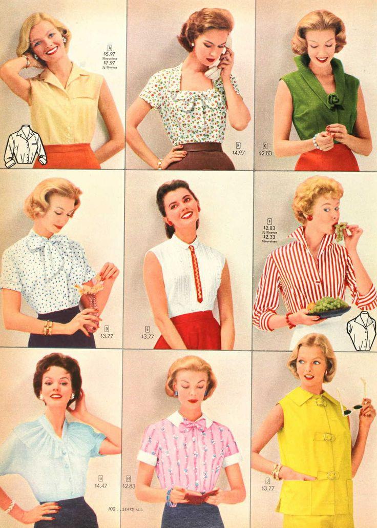 1957 Blouses Vintage Fashion Style Catalogue Shirts Yellow