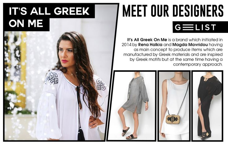 "This is ""It's All Greek Οn Me""! The Greek Brand draws inspiration directly from the Greek history! They use native materials, still manufactured in Greece, like canvas, burlap, felt, leather, silk with techniques that have flourished for many years in local tradition, like embroider and handwoven fabrics. The motifs adorning their products are all inspired from the traditional art, the ancient Greek world and the Greek architecture making every woman feel like a modern Greek goddess!"