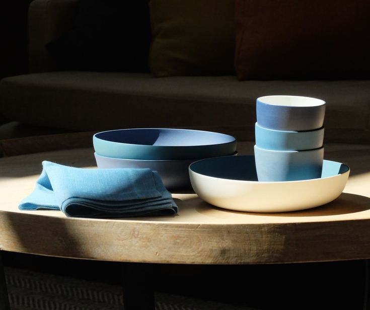 Canvas Cloth and Bowl  Libeco Belgian Linen Napkins Set of 4  Beautiful light weight linen in Teal, Blue-Green.