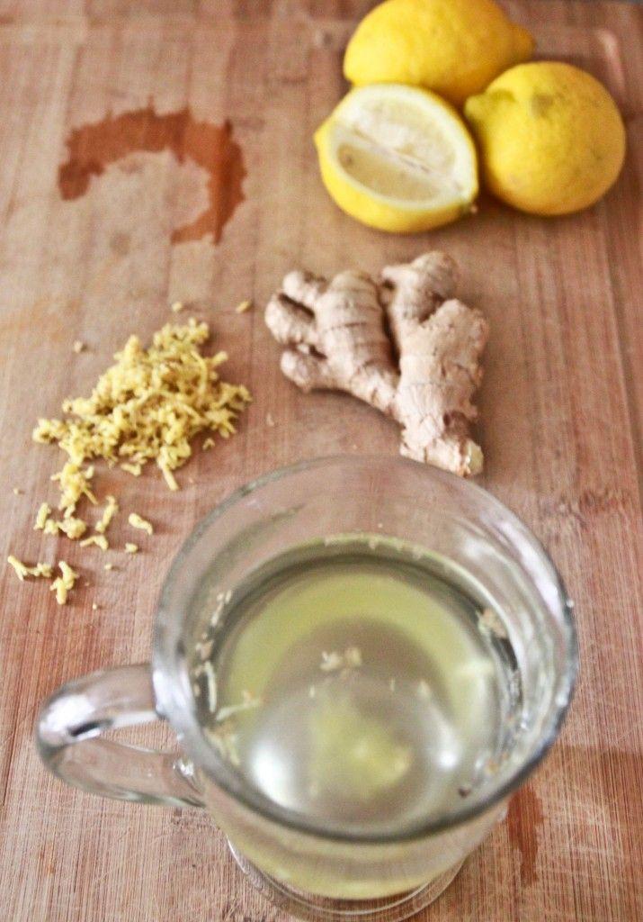 ginger lemon [honey] tea  + the many health benefits of ginger and lemon  For me, ginger insantly settles a sour stomach, love it!