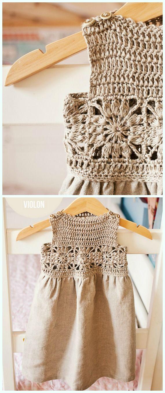 Granny Square Fabric Dress Häkelanleitung – Girl #Dress Free #Crochet Patt …   – Crochet