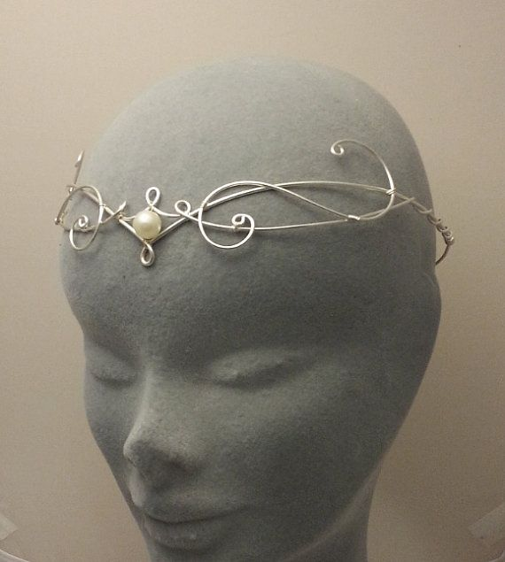 Medieval elven pearl galadriel silver circlet tiara headress crown