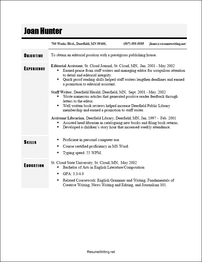 Example Resume Layout. 50 Free Microsoft Word Resume Templates For ...
