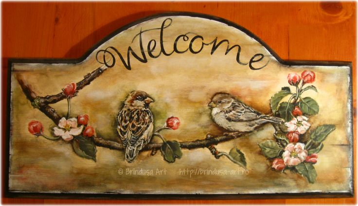 Painted entrance plaque - the joy of spring. Sparrows on apple blossom branch. Acrylics on wood, one of a kind. Placă pictată pt. întâmpinat oaspeţii la intrare - bucuria primăverii. Vrăbiuţe pe o creangă de măr înflorit. Culori acrilice pe lemn, unicat. #woodpainting #picturapelemn #vintage #welcome #bineaivenit #spring #primavara #birds #sparrows #pasari #appleblossoms #oneofakind #unicat #handmade #acrylics #acrilice #BrindusaArt