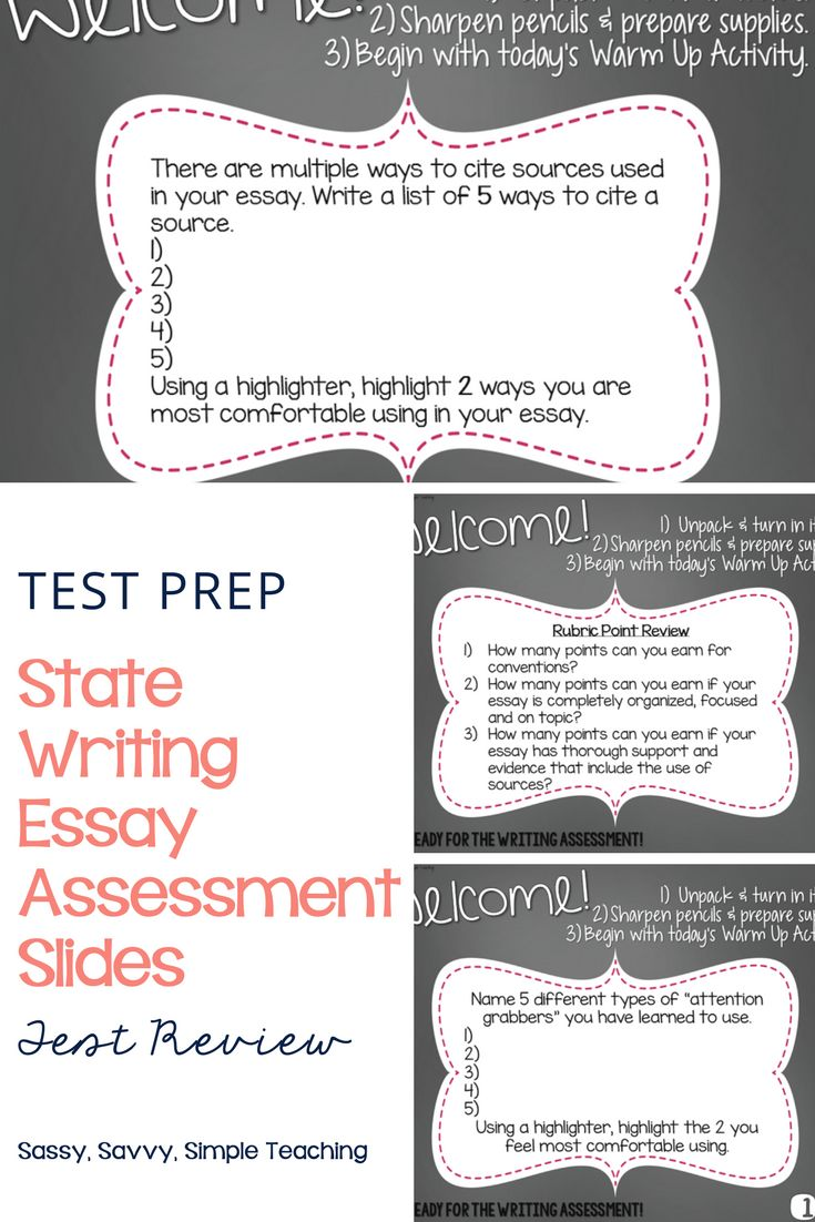 Essay Writing Test Prep Review Slides for the State Essay Assessment! These slides cover key elements and reminders to help students review prior to the assessment.  Help prepare your students for this timed writing assessment! Tips, ideas and more on the blog!