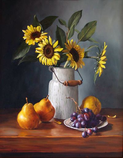 Sunflowers in Cream Can by Julie Baker Albright