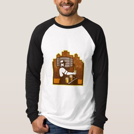 Bartender Pouring Beer Keg Cityscape Retro Shirt. Illustration of bartender carrying keg on shoulder pouring beer from keg viewed from the side with beer glass and cityscape buildings in the background done in retro style. #Illustration #BartenderPouringBeerKeg