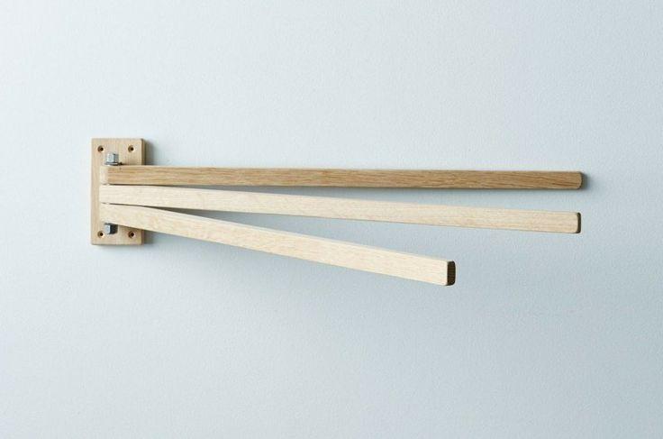 porte-serviette bois mural à 3 bras pliables pratiques