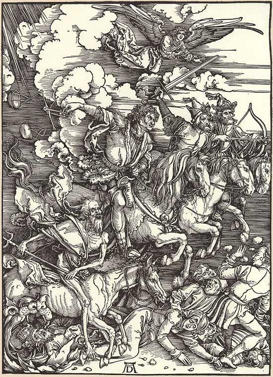 """""""Die vier apokalyptischen Reiter"""", Holzschnitt von Albrecht Dürer"""