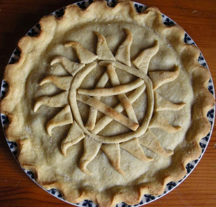 @Cassandra Dowman Guild Roberts this is what I am making for the first day of school!!!  Supernatural anti possession symbol pie!!