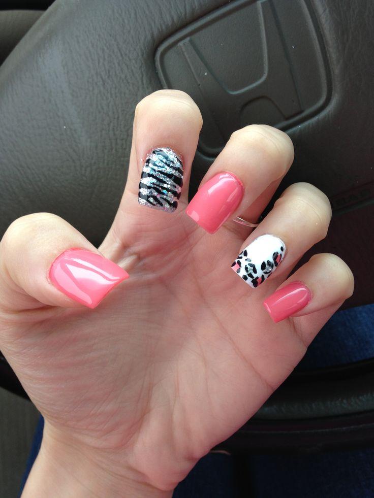 Coral white and glitter, cheetah and zebra nails