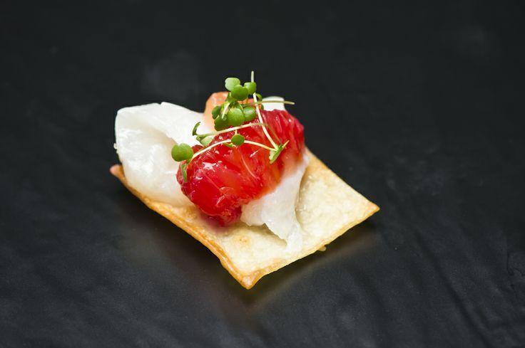 Spring Racing delights... Carta di musica con pesce crudo - raw Port Lincoln kingfish, blood orange, watercress, 'carta di musica' crisp bread #MelbourneCupCarnival2013 #food #canapes